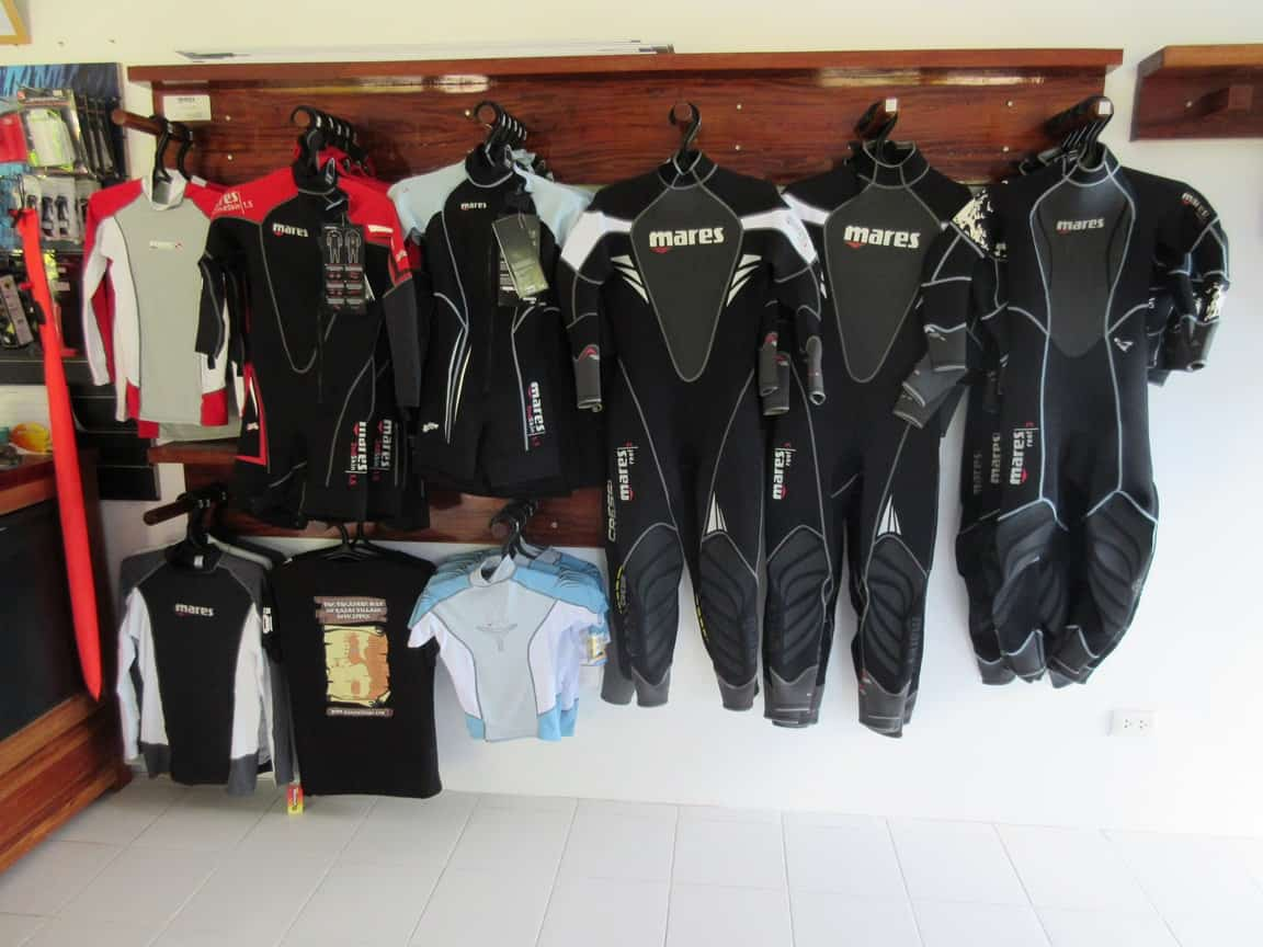 Wets suits at Kasai Dive Equipment shop