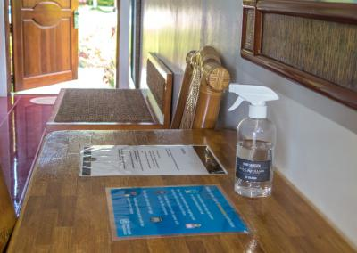 The rooms are equipped with and sanitisers and reminder notes of the resorts safety protocols