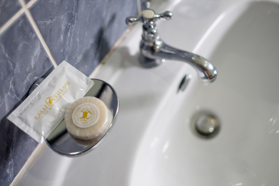 Complementary toiletries are included in the Sea View Deluxe Room